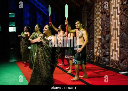 Maori cultural performance at the Meeting House, Waitangi Treaty Grounds, New Zealand. - Stock Photo