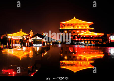 August 2018 Big Wild Goose Pagoda Bell Drum Tower - Stock Photo