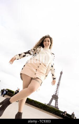 woman at Espl. du Trocadéro, next to Eiffel Tower, in Paris, France. - Stock Photo