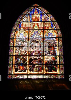 St. James Way: Glass Window with scene of the Battle of Roland , Museum of the Colegiata Santa Maria in Roncesvalles, Spain. - Stock Photo