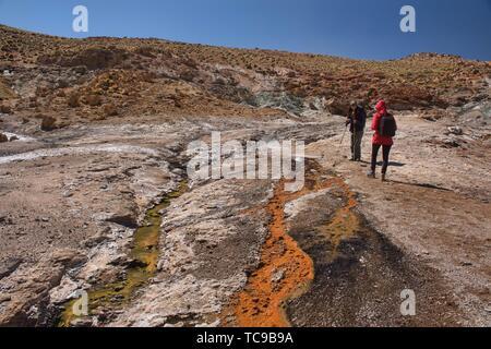The thermal boiling Rio Blanco river near El Tatio Geyser, San Pedro de Atacama, Chile. - Stock Photo