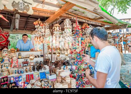 Local people sell souvenirs at Cumalikizik village,a popular destination for Tourists and locals in Bursa,Turkey. 20 May 2018. - Stock Photo