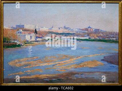 '''View of Madrid from the River Manzanares'', 1908, Aureliano de Beruete, Prado Museum, Madrid, Spain, Europe - Stock Photo