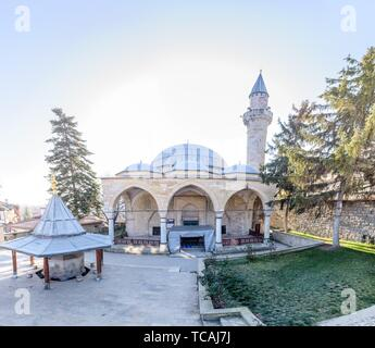 View of Yunus Pasha Mosque, built in 1517 by Ottoman architect Mimar Sinan, lies at the center of Tarakli in Sakarya Turkey. 27 January 2018. - Stock Photo