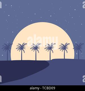 summer time holiday landscape beach palm trees moon night vector illustration - Stock Photo