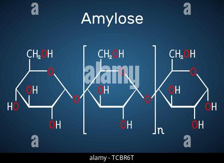 Amylose molecule. It is a polysaccharide and one of the two components of starch. Structural chemical formula on the dark blue background. Vector illu - Stock Photo