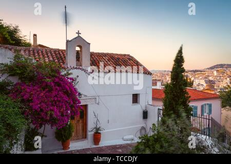 Church in Anafiotika neighborhood in the old town of Athens, Greece.. - Stock Photo