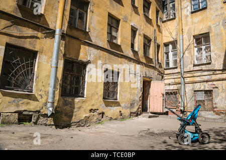 St.Peterburg, Russia - May 15, 2019 - a yard in the city centre - Stock Photo