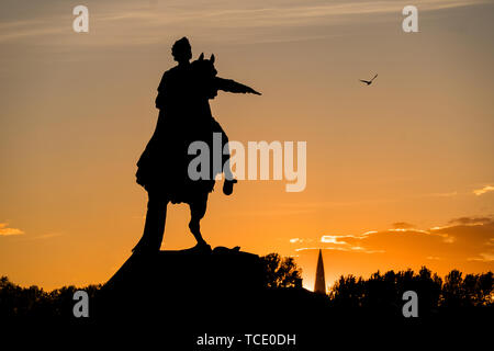 St. Peterburg, Russia - May 15, 2019 - silhouette of Peter I The Great statue (Bronse Horseman), and Lakhta skyscraper - Stock Photo