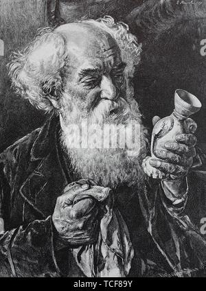 The collector, old man with a full beard, cleaning a porcelain vase from his collection, 1880, historical woodcut, Germany, Europe - Stock Photo