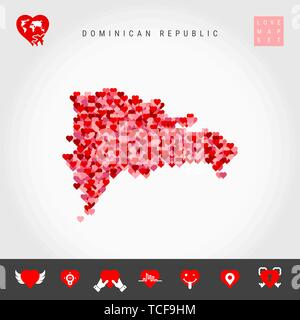 I Love Dominican Republic. Red and Pink Hearts Pattern Vector Map of Dominican Republic Isolated on Grey Background. Love Icon Set. - Stock Photo