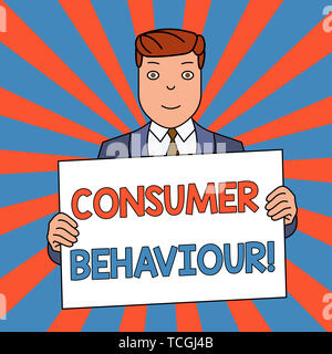 Word writing text Consumer Behaviour. Business photo showcasing Decisions that showing make to buy or not to buy a product Smiling Man Holding Formal  - Stock Photo