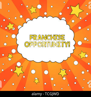 Word writing text Franchise Opportunity. Business photo showcasing Business License Privilege Owner to Dealer Affiliation Blank Speech Bubble Cloud Or - Stock Photo