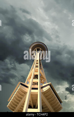 SEATTLE, WASHINGTON - May 20, 2017: The Space Needle is an observation tower in Seattle, Washington that was built in the Seattle Center for the 1962  - Stock Photo