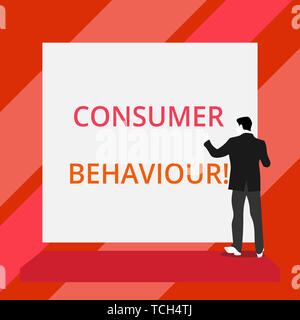 Word writing text Consumer Behaviour. Business photo showcasing Decisions that showing make to buy or not to buy a product Back view young man dressed - Stock Photo