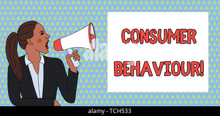 Word writing text Consumer Behaviour. Business photo showcasing Decisions that showing make to buy or not to buy a product Young Woman Jacket Ponytail - Stock Photo