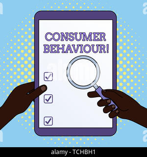 Word writing text Consumer Behaviour. Business photo showcasing Decisions that showing make to buy or not to buy a product Hands Holding Magnifying Gl - Stock Photo
