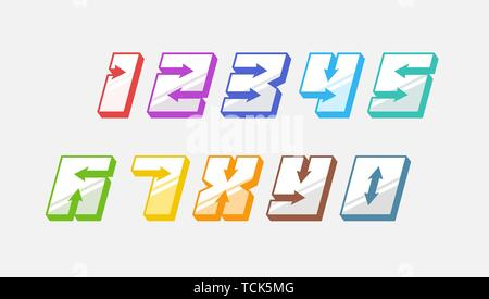 Numbers colourful set in 3d italic vintage style with arrows in speedy srtyle trendy typography consisiting of 1 2 3 4 5 6 7 8 9 0 for poster design o - Stock Photo