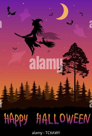 Holiday Halloween Landscape, Black Silhouettes Witch on Broom, Bats, Ghosts and Moon in Sky, forest with Fir and Pine Trees. Vector - Stock Photo