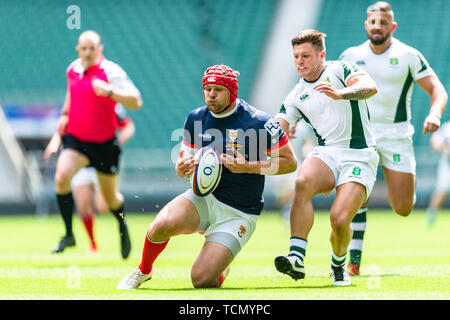 London, UK. 08th, Jun 2019. Peter Weightman of Cumbria is tackled during Bill Beaumont County Championship Division 3 Final match betwee Cumbria vs Dorset & Wilts at Twickenham Stadium on Saturday, 08 June 2019. LONDON England .  (Editorial use only, license required for commercial use. No use in betting, games or a single club/league/player publications.) Credit: Taka G Wu/Alamy Live News - Stock Photo
