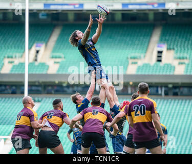 London, UK. 08th, Jun 2019. Surry's Dylan Flashman (Capt.) in action during Bill Beaumont County Championship Division 2 Final: Surrey v Leicestershire at Twickenham Stadium on Saturday, 08 June 2019. LONDON England .  (Editorial use only, license required for commercial use. No use in betting, games or a single club/league/player publications.) Credit: Taka G Wu/Alamy Live News - Stock Photo