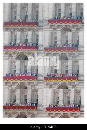 London UK. 8th June 2019. Composite image: Members of the Royal Family on the balcony of Buckingham Palace on the Queen's Birthday celebrations Credit: amer ghazzal/Alamy Live News - Stock Photo