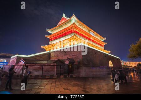 Night Lights of Gulou, Xi'an - Stock Photo