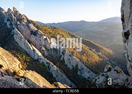 Sunset landscape of Dolomites of Basilicata mountains called Dolomiti Lucane. Basilicata region, Italy - Stock Photo