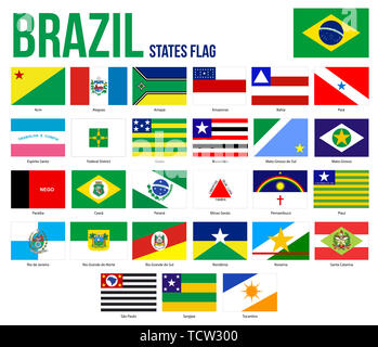 Brazil All States Flags Vector Illustration in Official Colors And Proportion. Brazil States Flag Collection. - Stock Photo