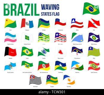 Brazil All States Waving Flags Vector Illustration in Official Colors And Proportion. Brazil States Flag Collection. - Stock Photo