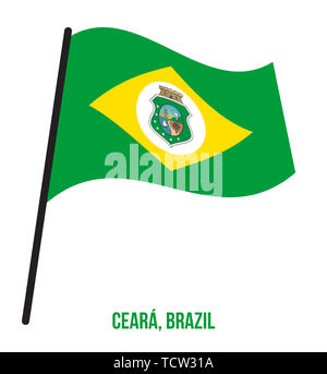 Ceara Flag Waving Vector Illustration on White Background. States Flag of Brazil. - Stock Photo