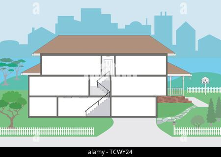 Large Cutaway House Ready to Decorate - please see my portfolio for the rooms which will fit straight into this house, rooms are very highly detailed  - Stock Photo