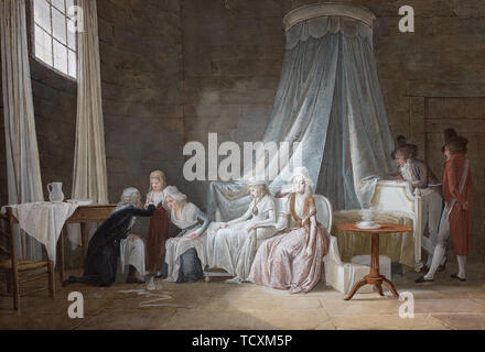 Madame Royale healed by Brunier on January 24th 1793. The royal family at the Temple Prison. Creator: Mallet, Jean-Baptiste (1759-1835). - Stock Photo