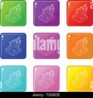 Forest fire icons set 9 color collection - Stock Photo