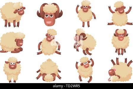 Sheep icons set. Cartoon set of sheep vector icons for web design - Stock Photo
