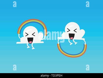 Cloud character jumping rainbow rope ativity. Vector illustration - Stock Photo