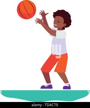 happy afro little boy playing basketball vector illustration design - Stock Photo