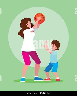 Mother and son playing design, Family activities relationship generation lifestyle and people theme Vector illustration - Stock Photo