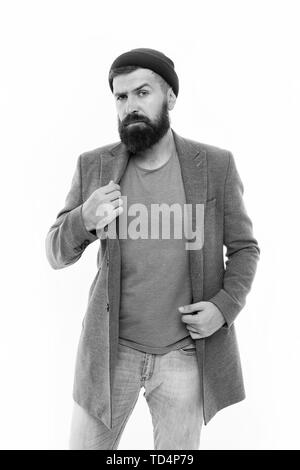 Mature hipster with beard. serious man isolated on white. Male barber care. Fashion man with beard. Bearded man. brutal caucasian hipster with moustache. Hipster fashion. - Stock Photo