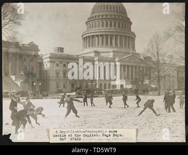 'English: Title: A Republican-Democratic snow battle at the Capitol. Page boys Abstract/medium: 1 photographic print.; 1923; Library of Congress Catal - Stock Photo