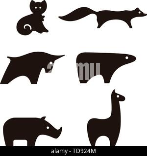Vector illustration. Fierce animals icon set in black and white. Geometric forms. - Stock Photo