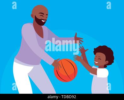 Father with son playing design, Family activities relationship generation lifestyle and people theme Vector illustration - Stock Photo