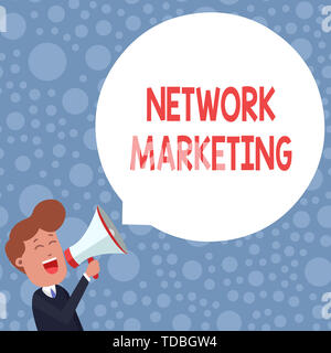 Conceptual hand writing showing Network Marketing. Concept meaning Pyramid Selling Multi level of trading goods and services Young Man Shouting in Meg - Stock Photo