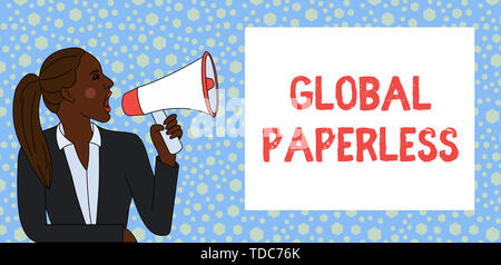 Text sign showing Global Paperless. Business photo text going for technology methods like email instead of paper Young Woman Jacket Ponytail Shouting  - Stock Photo