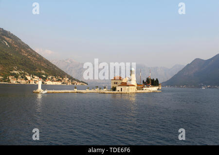 Church of Our Lady of the Rocks in Kotor bay (Boka Kotorska) near Perast, Montenegro, Europe - Stock Photo