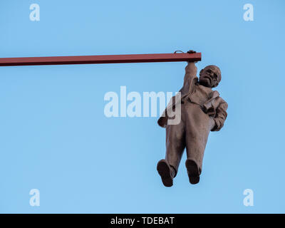 Prague, Czech Republic - June 8 2019: Man Hanging Out, a Funny Statue of Sigmund Freud made by David Cerny in 1996. - Stock Photo