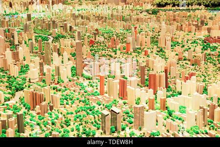 Model of the Magic Capital (Shanghai Urban Planning Museum) - Stock Photo