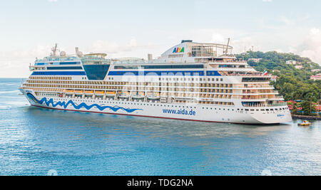 CASTRIES, ST LUCIA - November 21, 2016: AIDA Cruises is an American British-owned German cruise line based in Rostock, Germany. The company entered th - Stock Photo