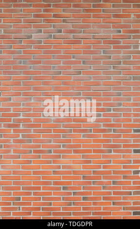High resolution full frame background of detailed new red brick wall. - Stock Photo