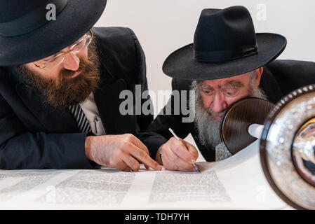Dresden, Germany. 16th June, 2019. Elad Cohen (l), writer of the new Torah scroll for Dresden, and Rabbi Havlin from Jerusalem write the last letters of the unpunctuated Hebrew text at the ceremonial inauguration of the scroll in the city hall. Credit: Robert Michael/dpa-Zentralbild/dpa/Alamy Live News - Stock Photo